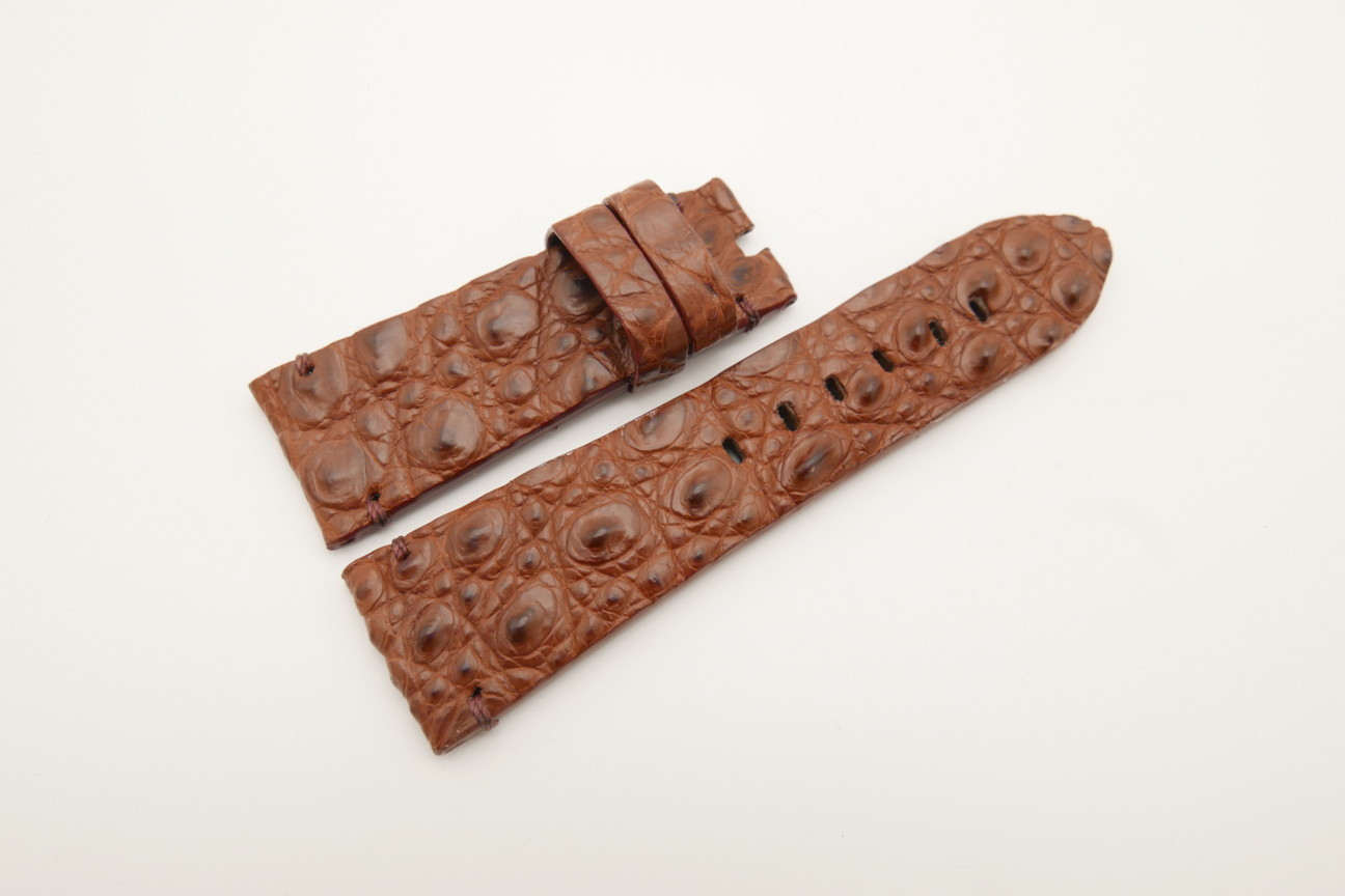 26mm/22mm Red Brown Genuine HORNBACK CROCODILE Skin Leather Watch Strap for Panerai #WT4599