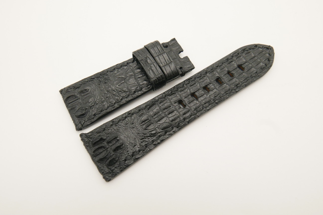 26mm/22mm Black Genuine HORNBACK CROCODILE Skin Leather Watch Strap for Panerai #WT4602