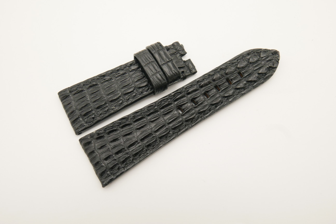 26mm/22mm Black Genuine HORNBACK CROCODILE Skin Leather Watch Strap for Panerai #WT4603