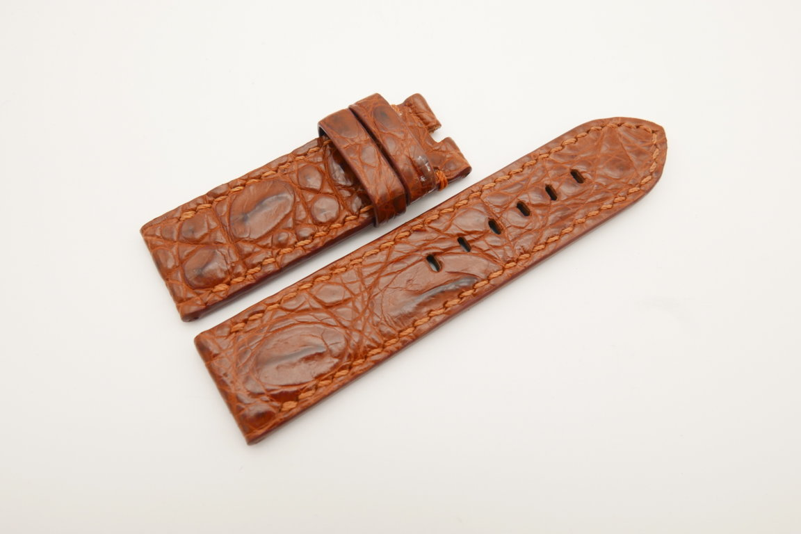 24mm/24mm Red Brown Genuine HORNBACK CROCODILE Skin Leather Watch Strap for Panerai #WT4633