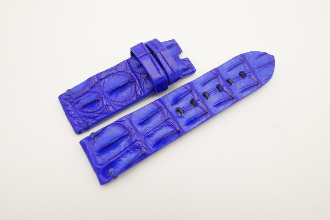 24mm/24mm Cobalt Blue Genuine HORNBACK CROCODILE Skin Leather Watch Strap for Panerai #WT4638