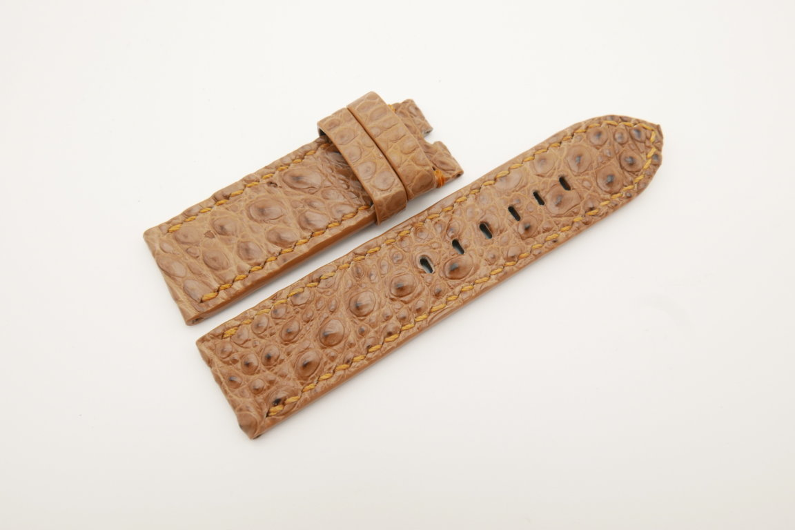 24mm/24mm Light Brown Genuine HORNBACK CROCODILE Skin Leather Watch Strap for Panerai #WT4643