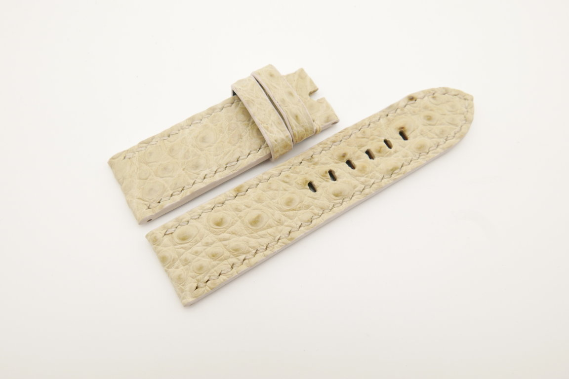 24mm/24mm Beige Genuine HORNBACK CROCODILE Skin Leather Watch Strap for Panerai #WT4649