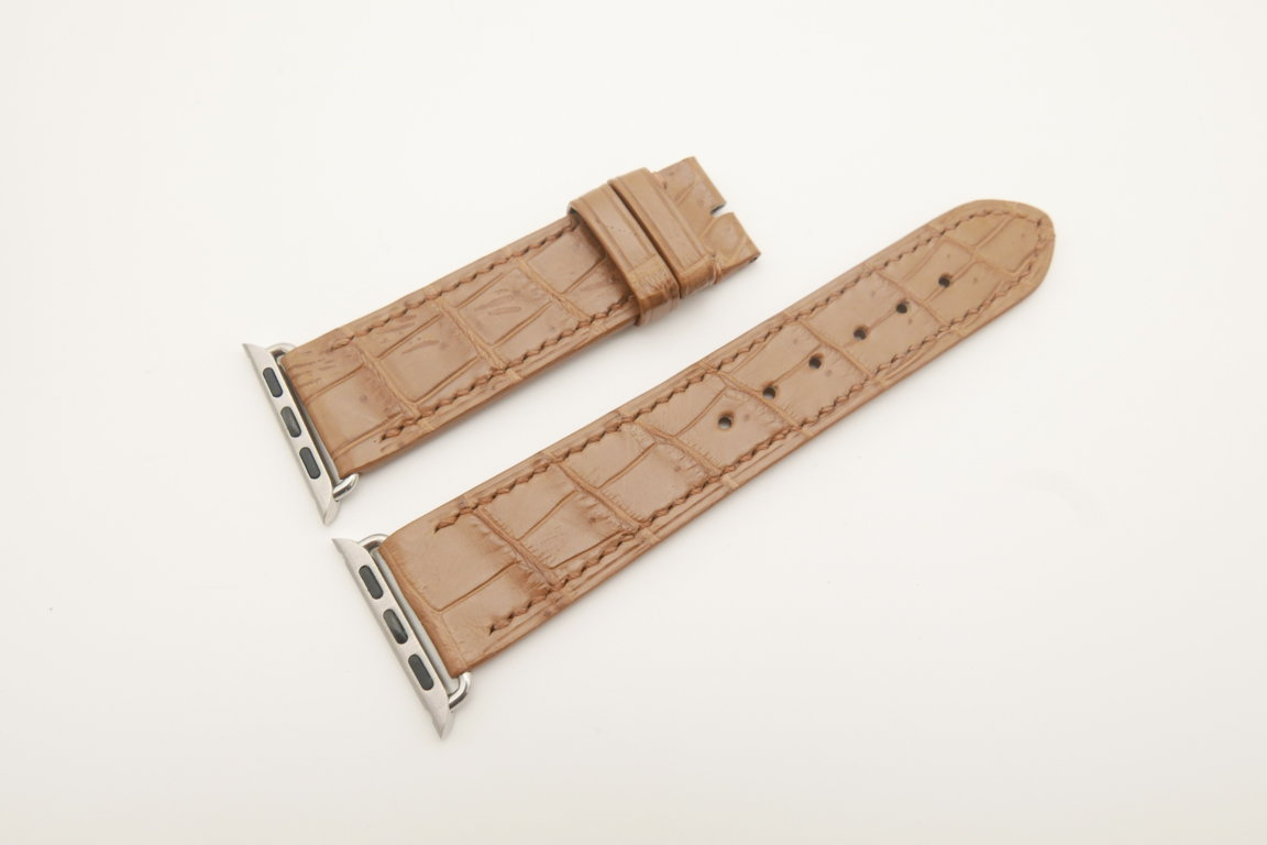22mm/20mm Light Brown Genuine CROCODILE Leather Watch Strap for Apple Watch 38mm #WT4610