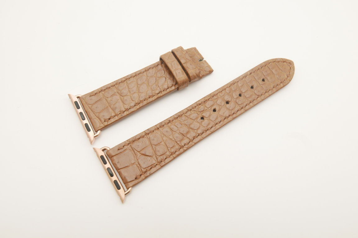22mm/20mm Light Brown Genuine CROCODILE Leather Watch Strap for Apple Watch 38mm #WT4611