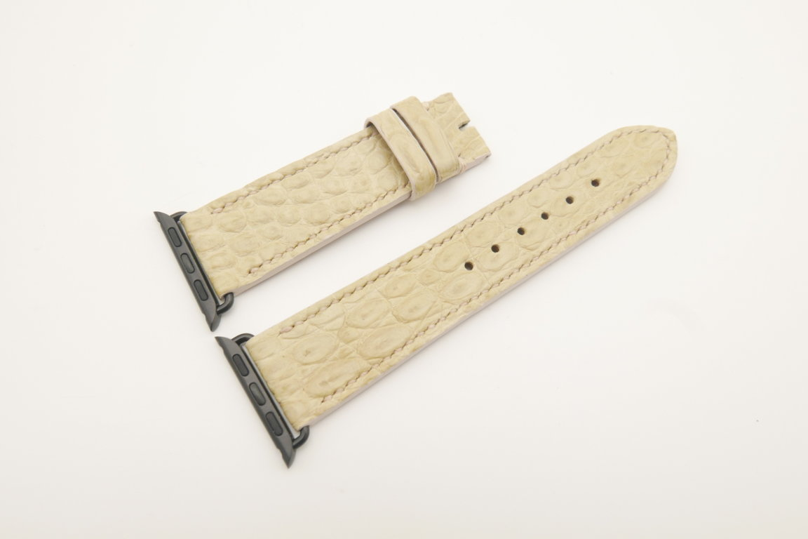 22mm/20mm Beige Genuine CROCODILE Leather Watch Strap for Apple Watch 38mm #WT4612