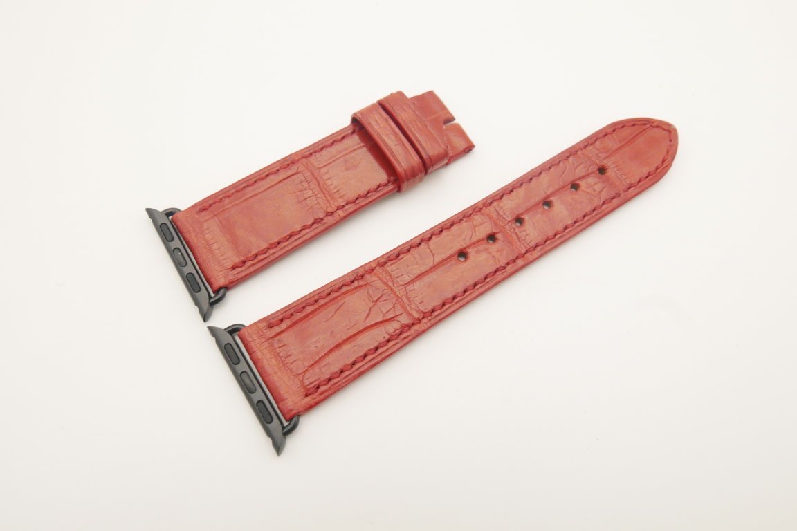 22mm/20mm Red Genuine CROCODILE Leather Watch Strap for Apple Watch 38mm #WT4614