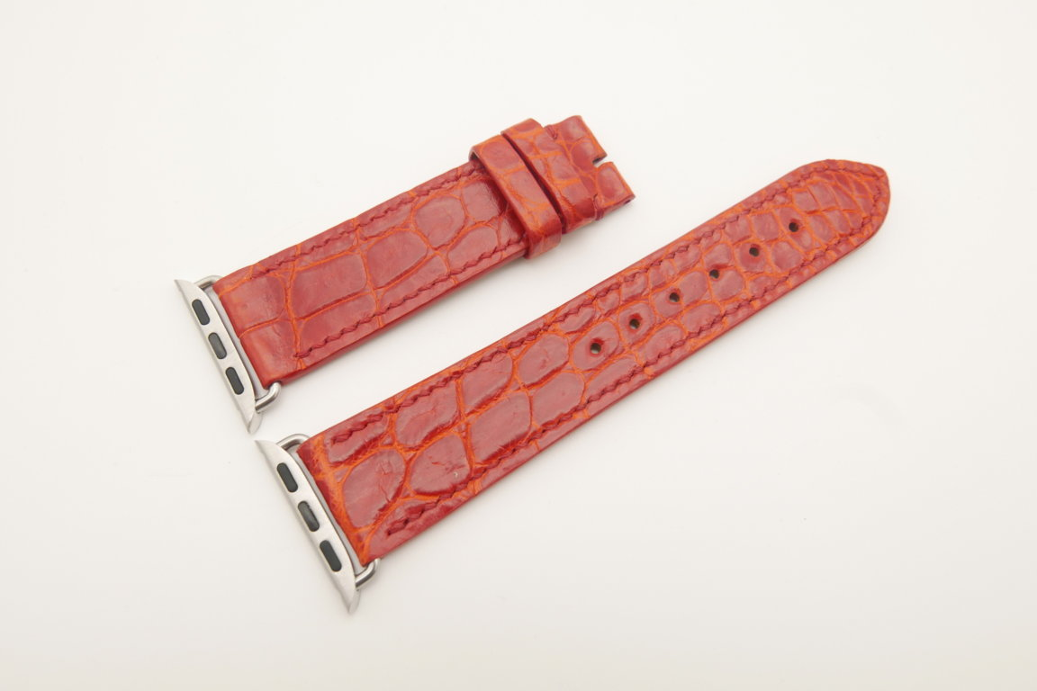 22mm/20mm Red Genuine CROCODILE Leather Watch Strap for Apple Watch 38mm #WT4615