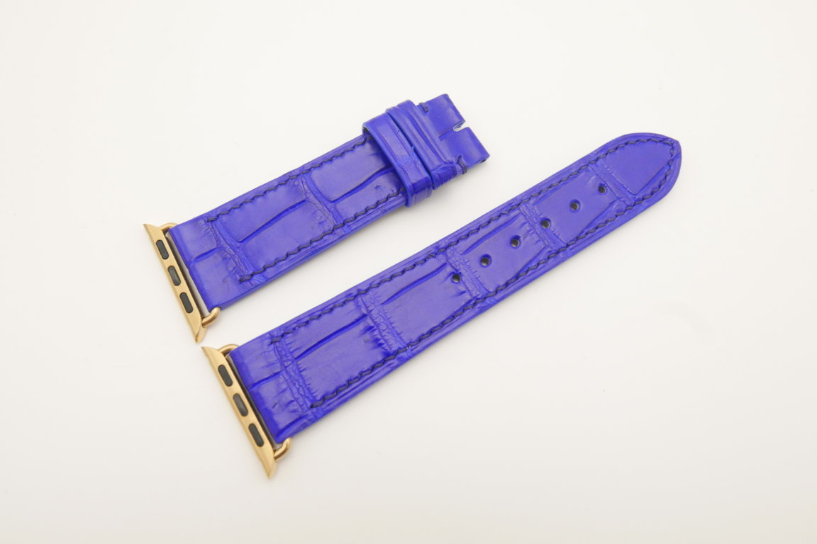 22mm/20mm Cobalt Blue Genuine CROCODILE Leather Watch Strap for Apple Watch 38mm #WT4616