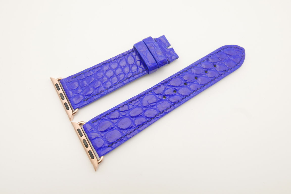 22mm/20mm Cobalt Blue Genuine CROCODILE Leather Watch Strap for Apple Watch 38mm #WT4617