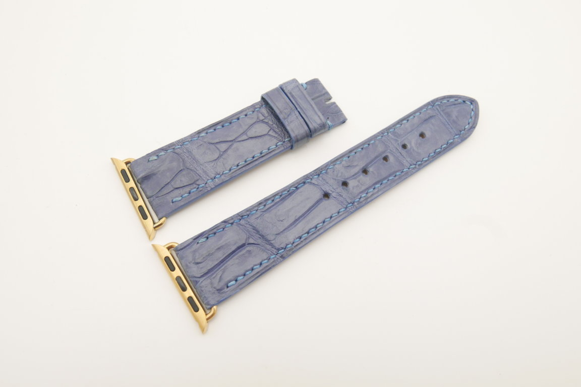 22mm/20mm Light Blue Genuine CROCODILE Leather Watch Strap for Apple Watch 38mm #WT4618
