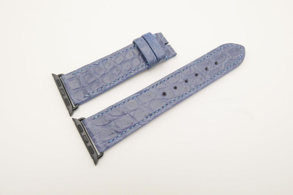 22mm/20mm Light Blue Genuine CROCODILE Leather Watch Strap for Apple Watch 38mm #WT4619