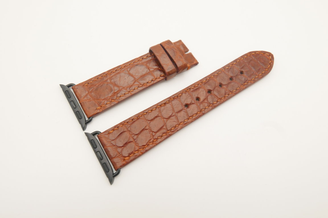 22mm/20mm Red Brown Genuine CROCODILE Leather Watch Strap for Apple Watch 38mm #WT4620