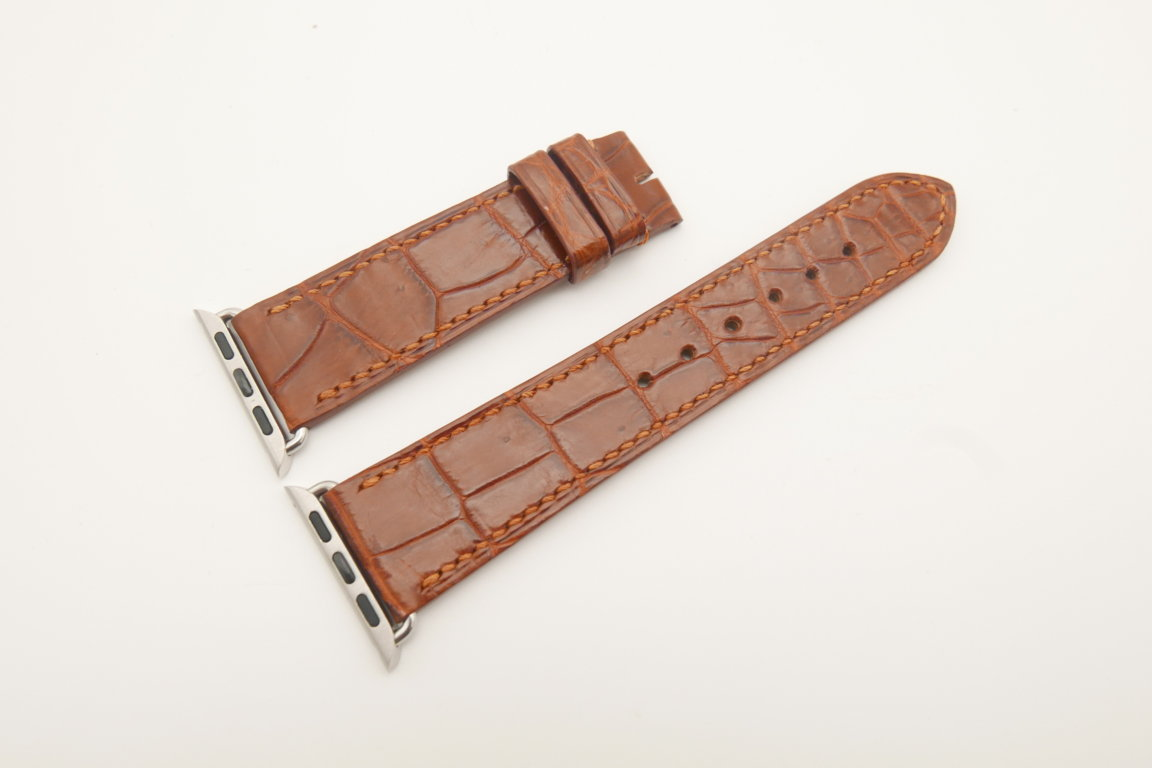 22mm/20mm Red Brown Genuine CROCODILE Leather Watch Strap for Apple Watch 38mm #WT4621