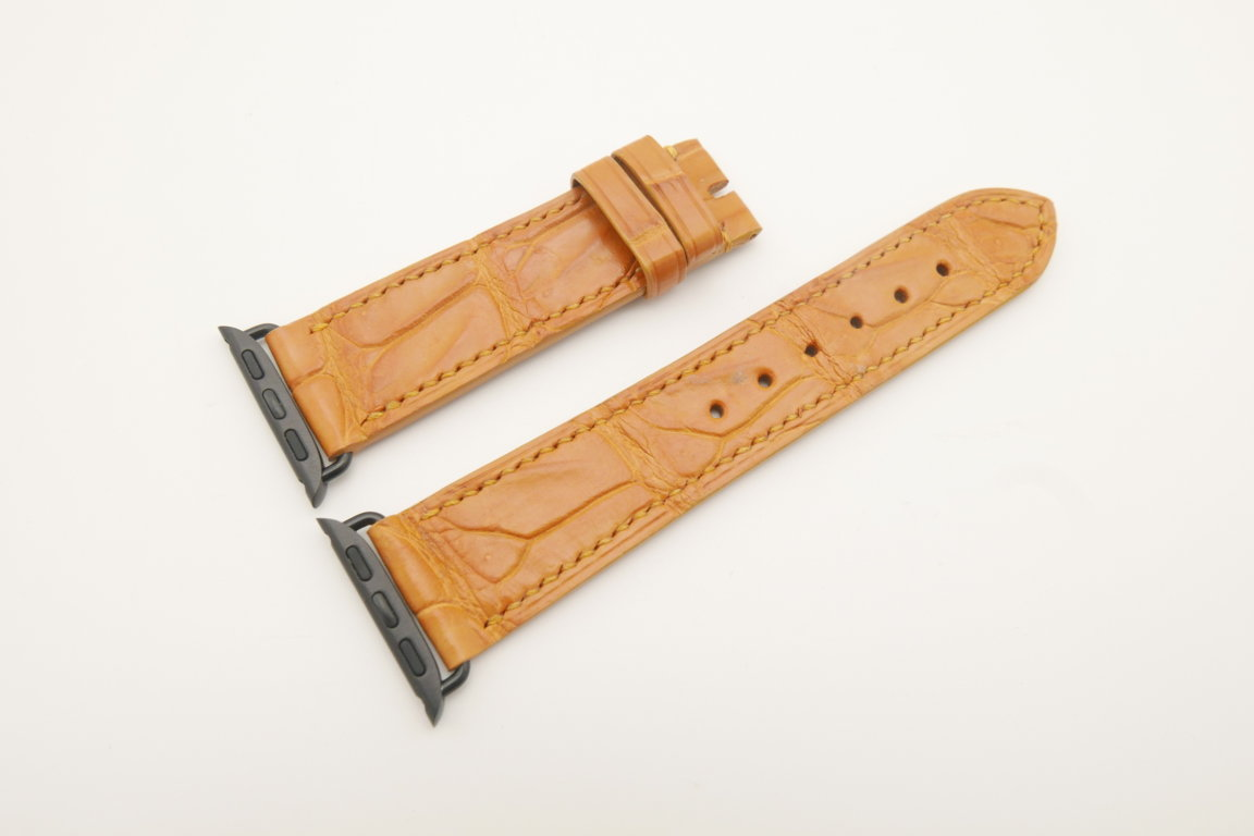 22mm/20mm Tan Brown Genuine CROCODILE Leather Watch Strap for Apple Watch 38mm #WT4626