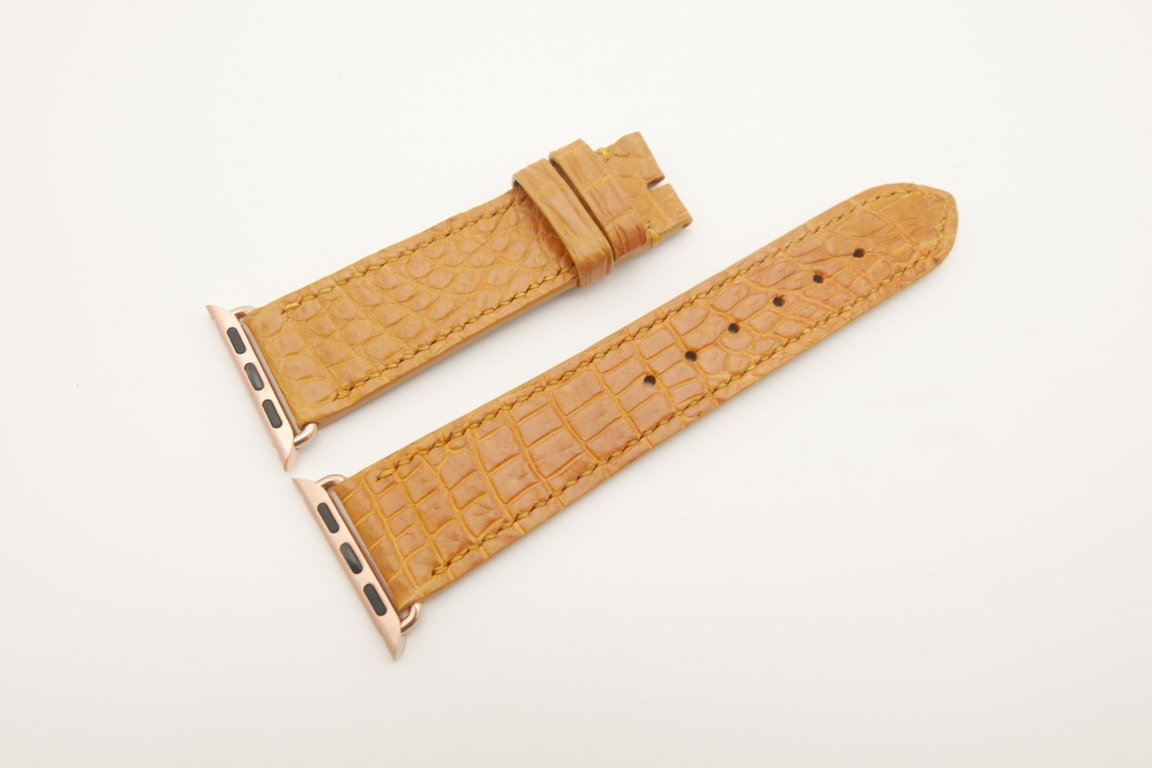 22mm/20mm Tan Brown Genuine CROCODILE Leather Watch Strap for Apple Watch 38mm #WT4627