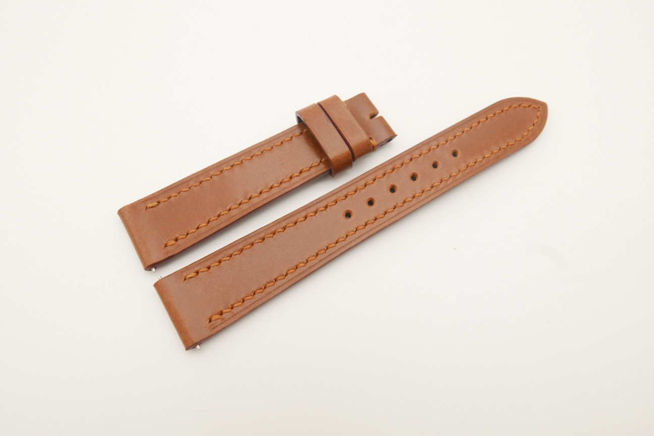 18mm/16mm Cognac Genuine Shell Cordovan Leather Watch Strap #WT4670