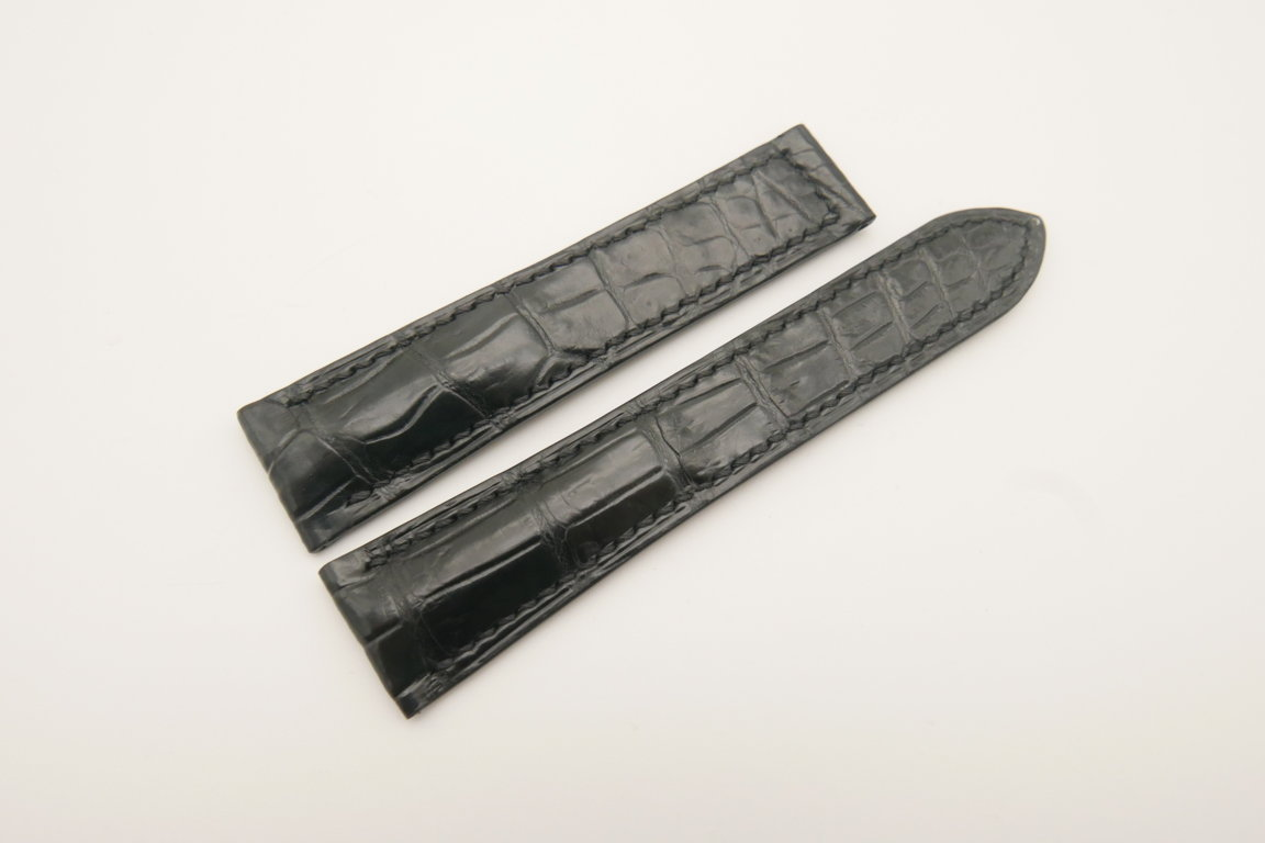 21mm/18mm Black Gray Genuine CROCODILE Skin Leather Deployment Strap for OMEGA Watch #WT4678