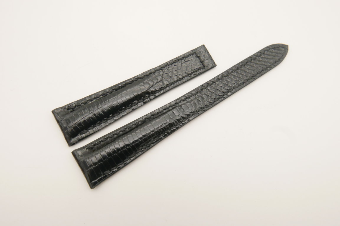 17mm/12mm Black Genuine LIZARD Skin Leather Deployment Strap for OMEGA Watch #WT4679