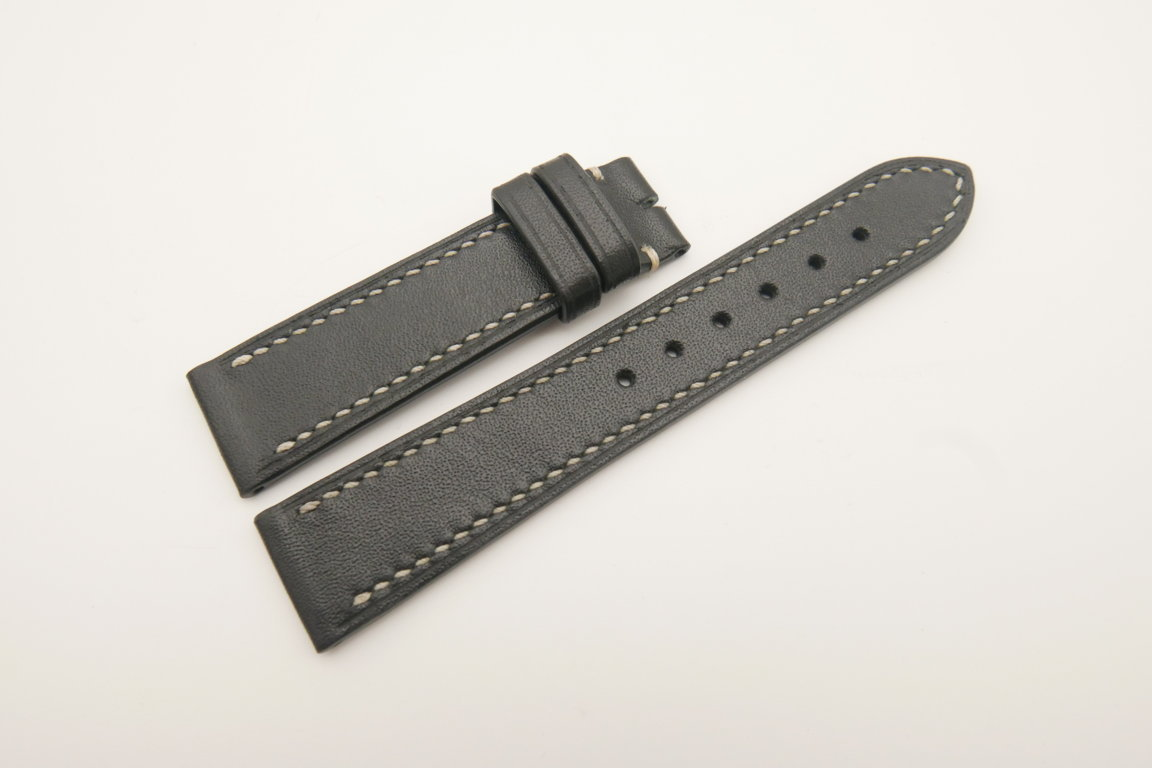 20mm/18mm Black Genuine Italian Calf Skin Leather Watch Strap Band #WT4681