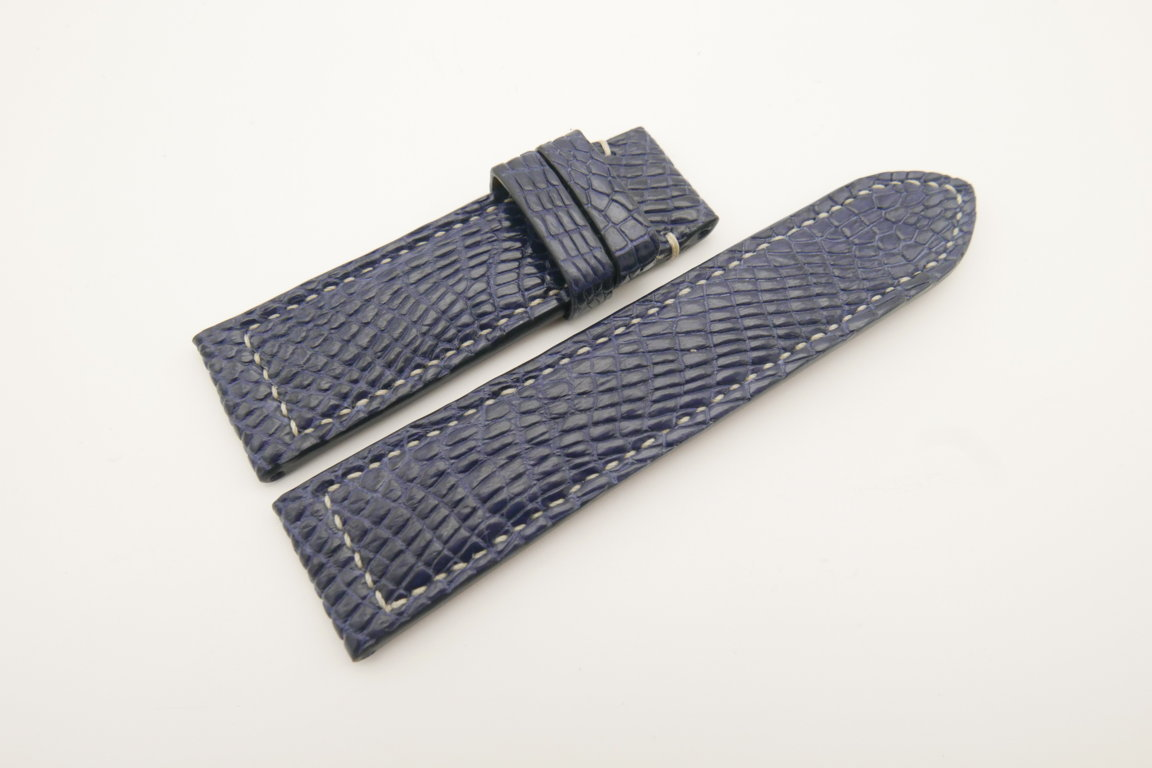 24mm/22mm Dark Navy Blue Genuine CROCODILE Skin Leather Watch Strap for Panerai #WT4685