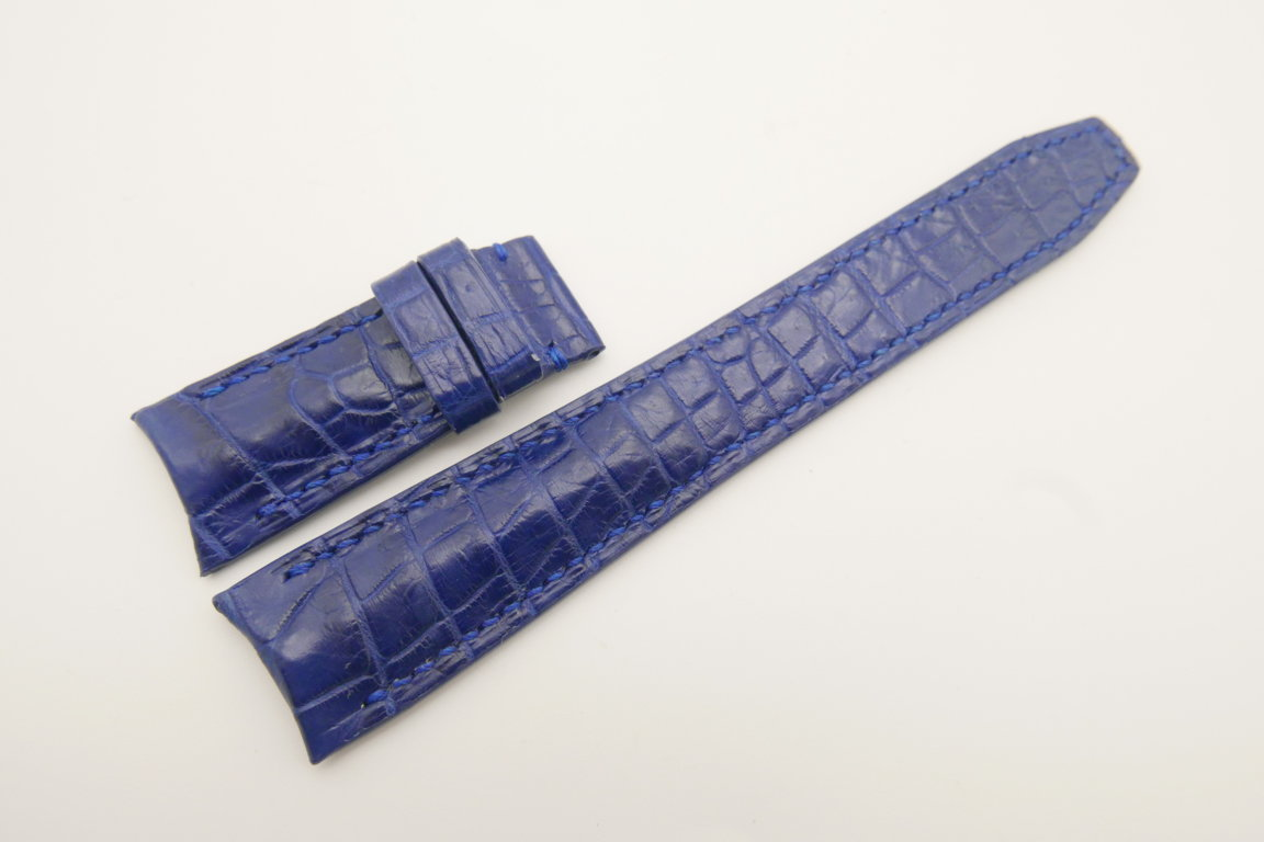 22mm/18mm Blue Genuine CROCODILE Skin Leather Curved End Deployment Strap For IWC #WT4695