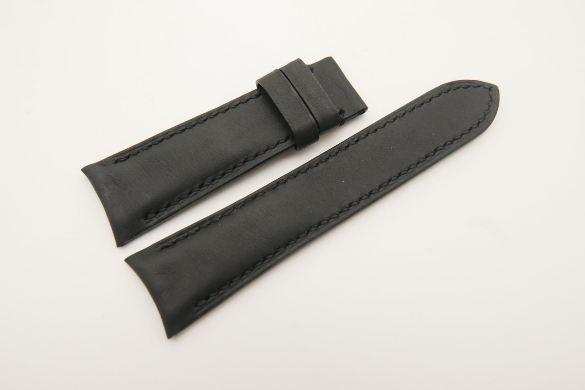 21mm/18mm Black Genuine SOMBRERO CALF Skin Leather Curved End Watch Strap #WT4752