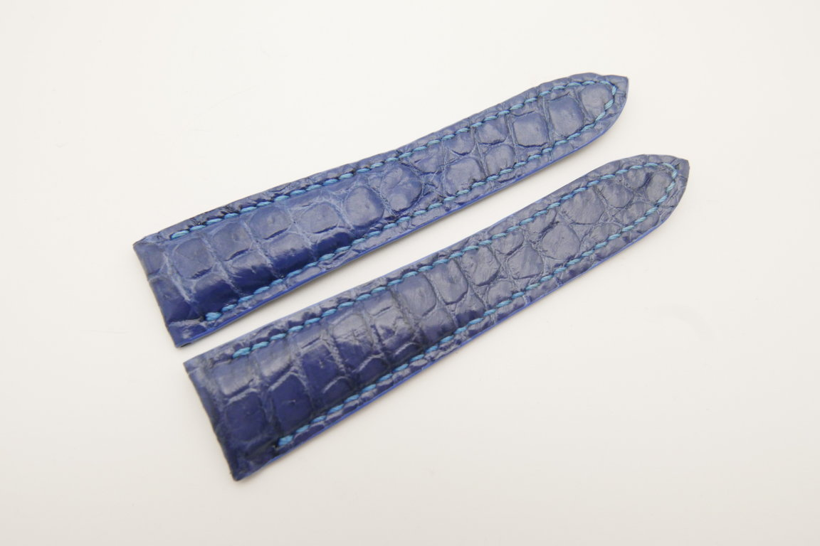 20mm Blue Genuine CROCODILE Skin Leather Deployment Strap for Cartier #WT4755