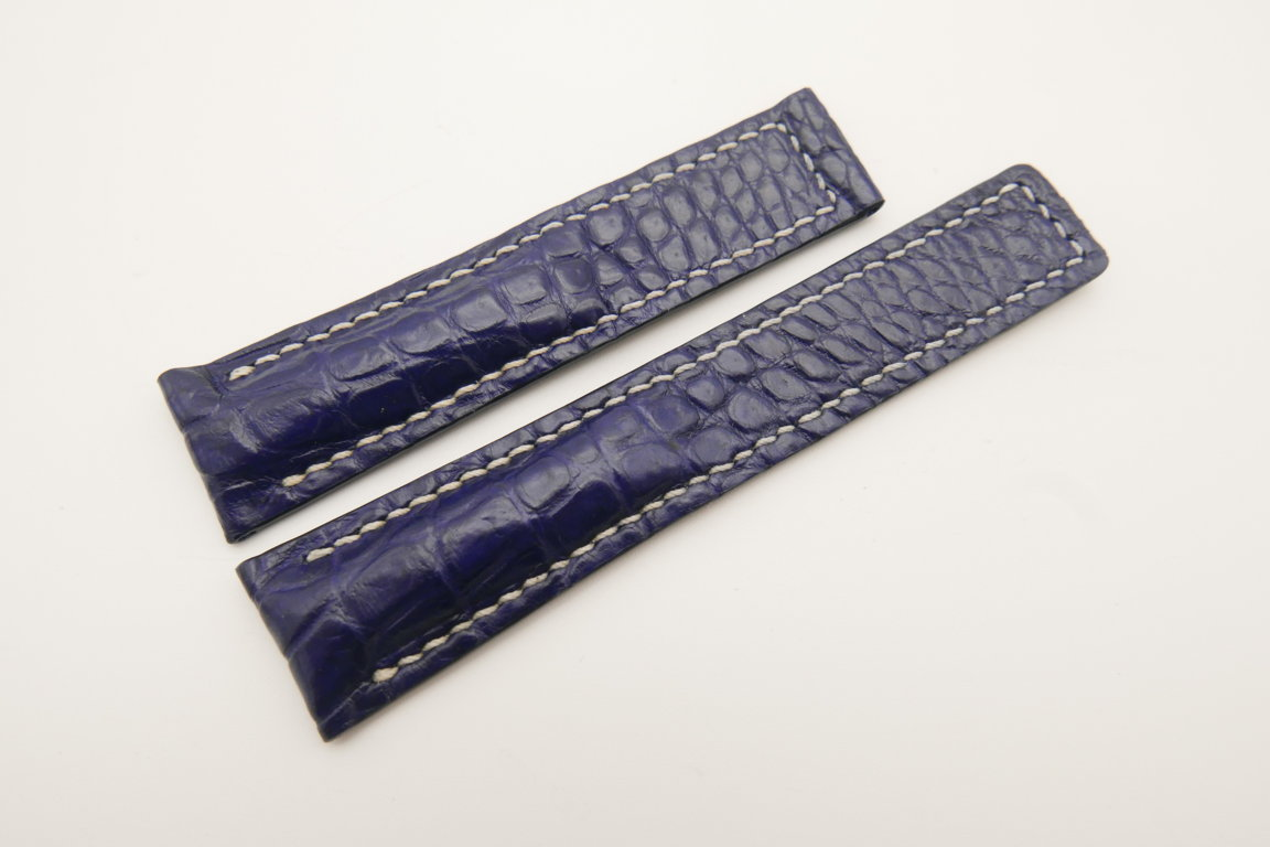 20mm/18mm Dark Blue Genuine CROCODILE Skin Leather Deployment Strap For Tag Heuer #WT4702