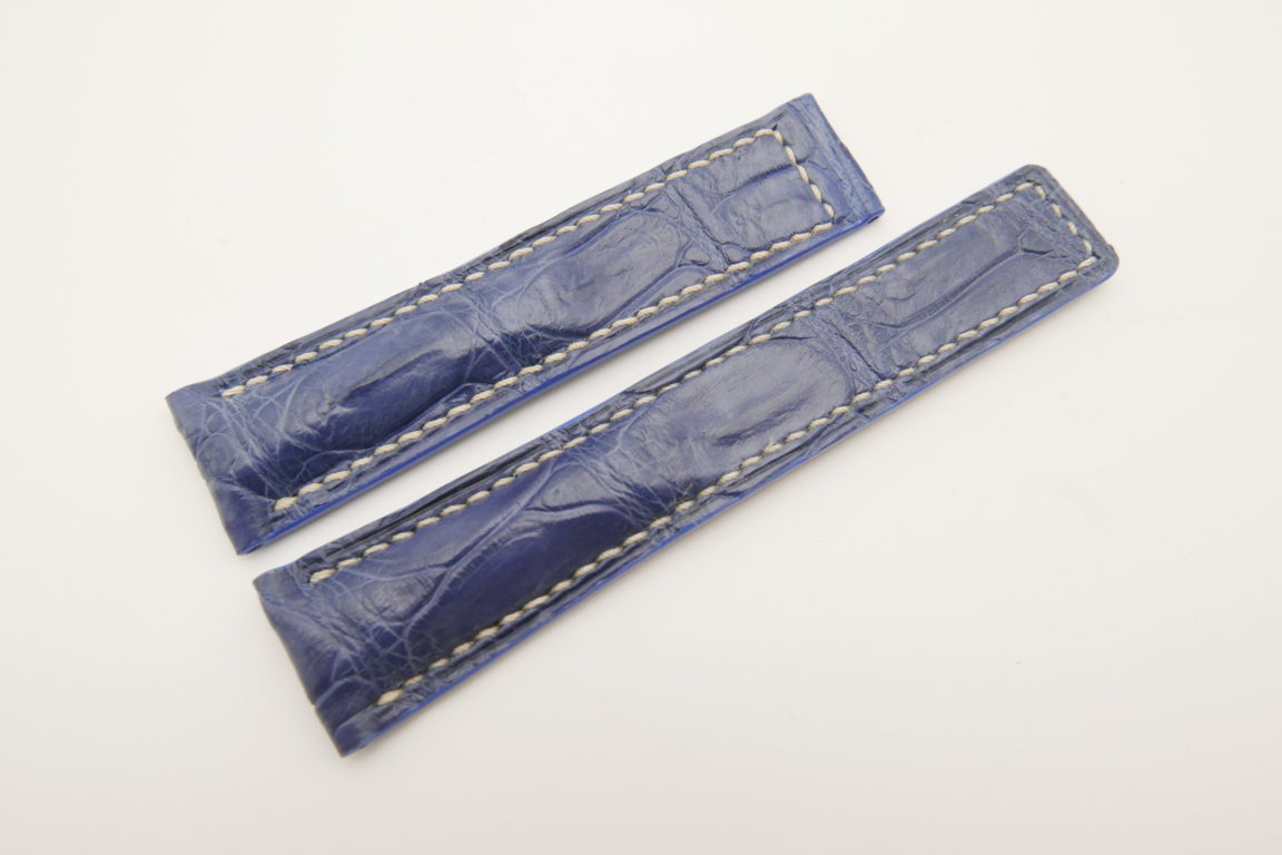 20mm/18mm Light Blue Genuine CROCODILE Skin Leather Deployment Strap For Tag Heuer #WT4707