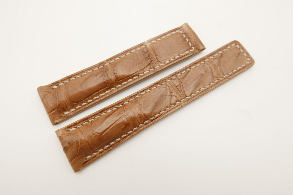 20mm/18mm Light Brown Genuine CROCODILE Skin Leather Deployment Strap For Tag Heuer #WT4715