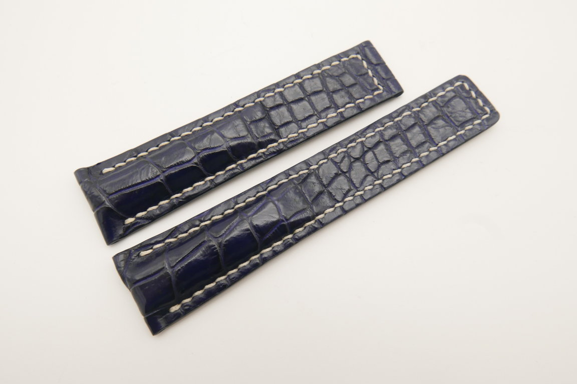 20mm/18mm Dark Blue Genuine CROCODILE Skin Leather Deployment Strap For Tag Heuer #WT4719