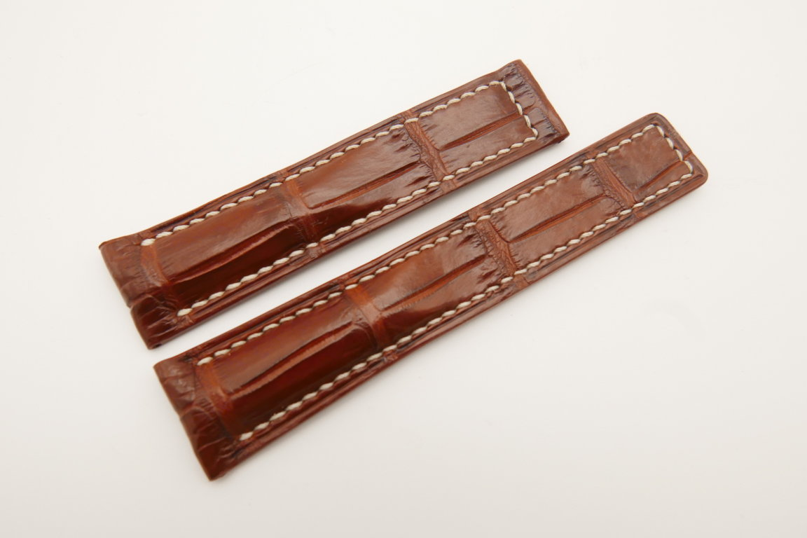 20mm/18mm Red Brown Genuine CROCODILE Skin Leather Deployment Strap For Tag Heuer #WT4722