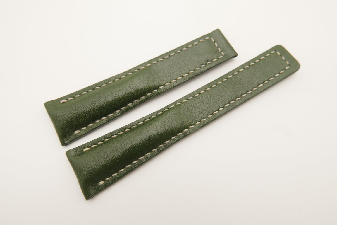 20mm/16mm Green Genuine ITALIA CALF Skin Leather Deployment Strap For Tag Heuer #WT4726