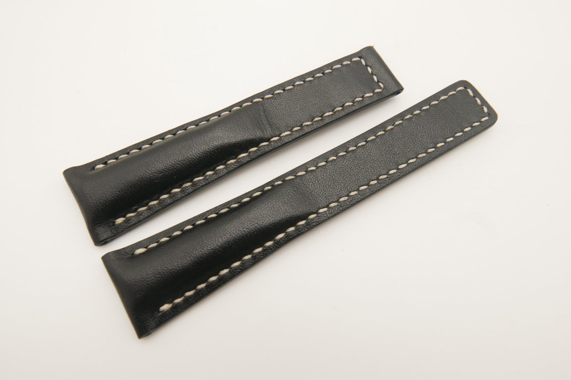 20mm/16mm Black Genuine ITALIA CALF Skin Leather Deployment Strap For Tag Heuer #WT4727