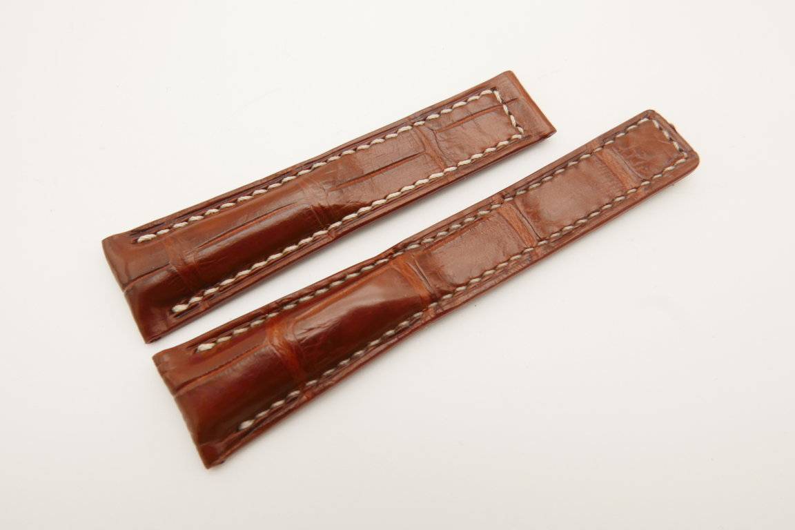 20mm/16mm Red Brown Genuine CROCODILE Skin Leather Deployment Strap For Tag Heuer #WT4736