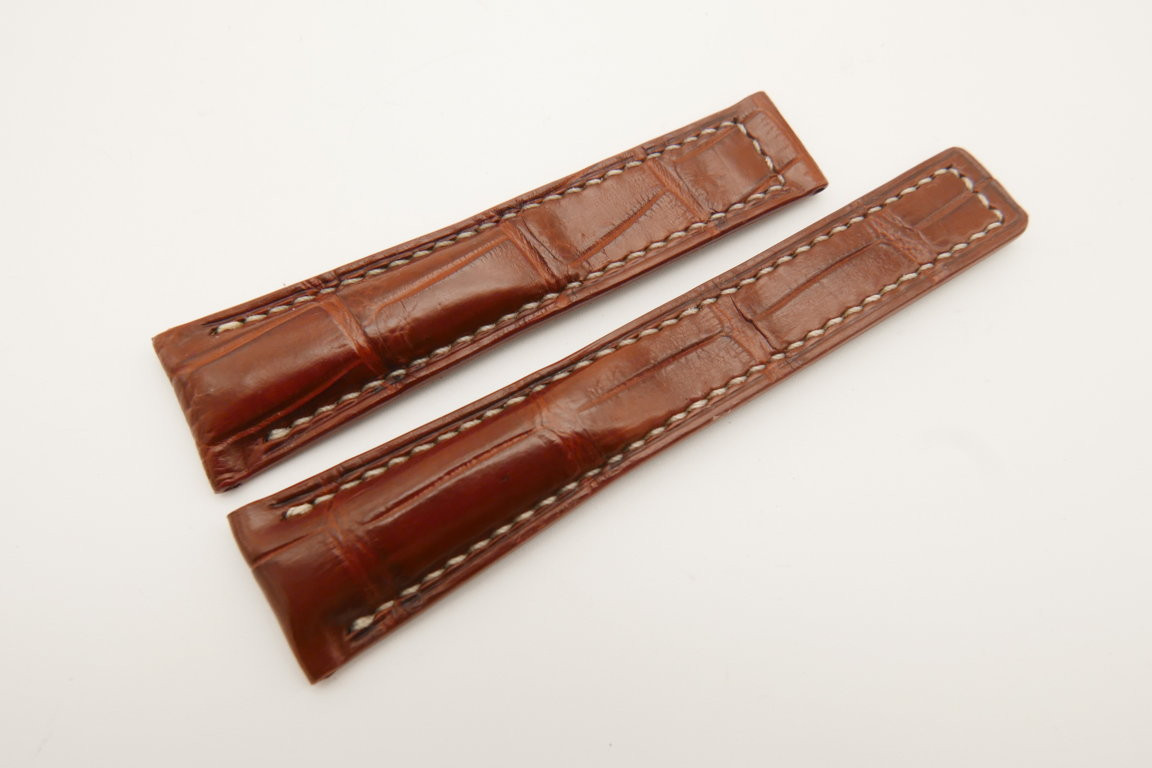 20mm/16mm Red Brown Genuine CROCODILE Skin Leather Deployment Strap For Tag Heuer #WT4737