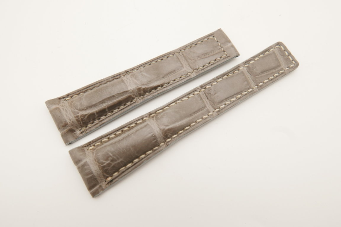 20mm/16mm Light Gray Genuine CROCODILE Skin Leather Deployment Strap For Tag Heuer #WT4738