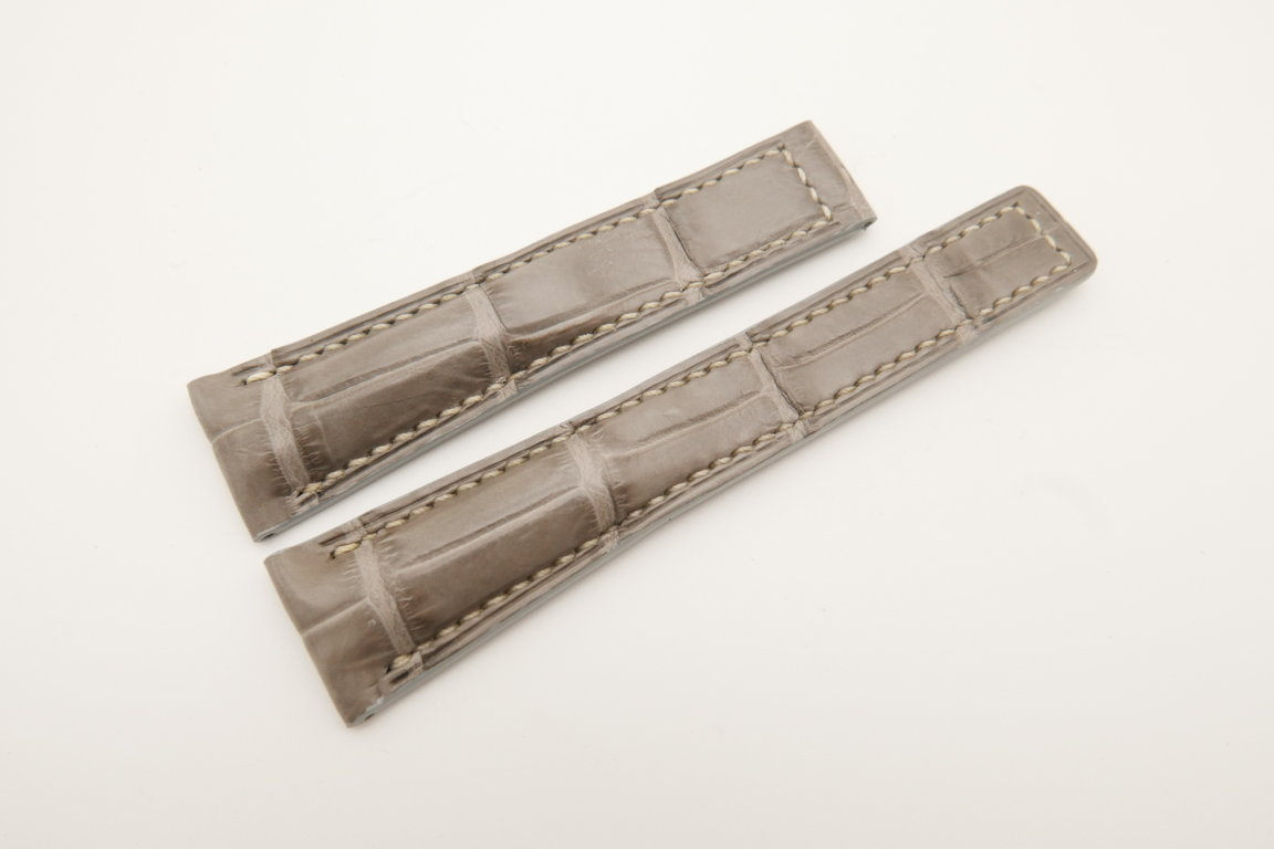 20mm/16mm Light Gray Genuine CROCODILE Skin Leather Deployment Strap For Tag Heuer #WT4739