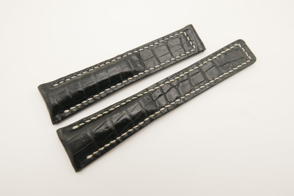 20mm/16mm Black Genuine CROCODILE Skin Leather Deployment Strap For Tag Heuer #WT4740