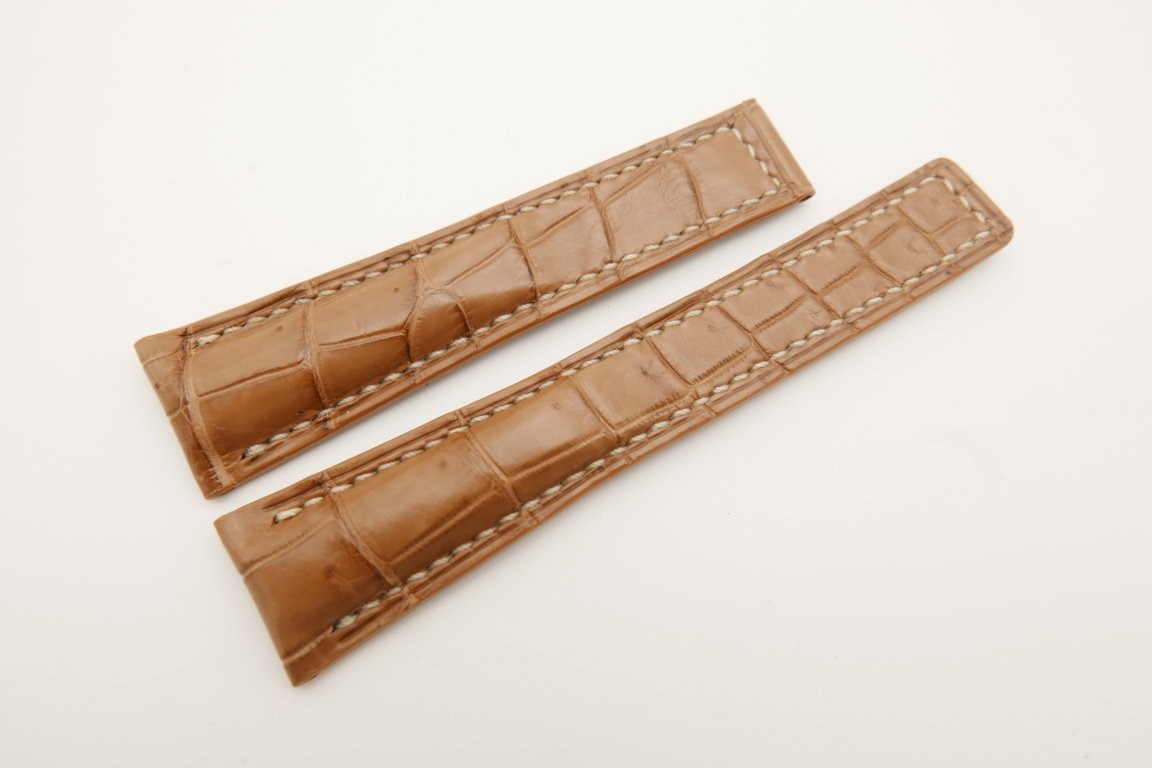 20mm/16mm Light Brown Genuine CROCODILE Skin Leather Deployment Strap For Tag Heuer #WT4743