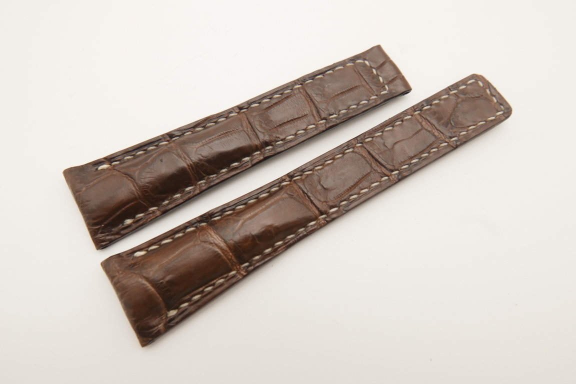 20mm/16mm Dark Brown Genuine CROCODILE Skin Leather Deployment Strap For Tag Heuer #WT4744