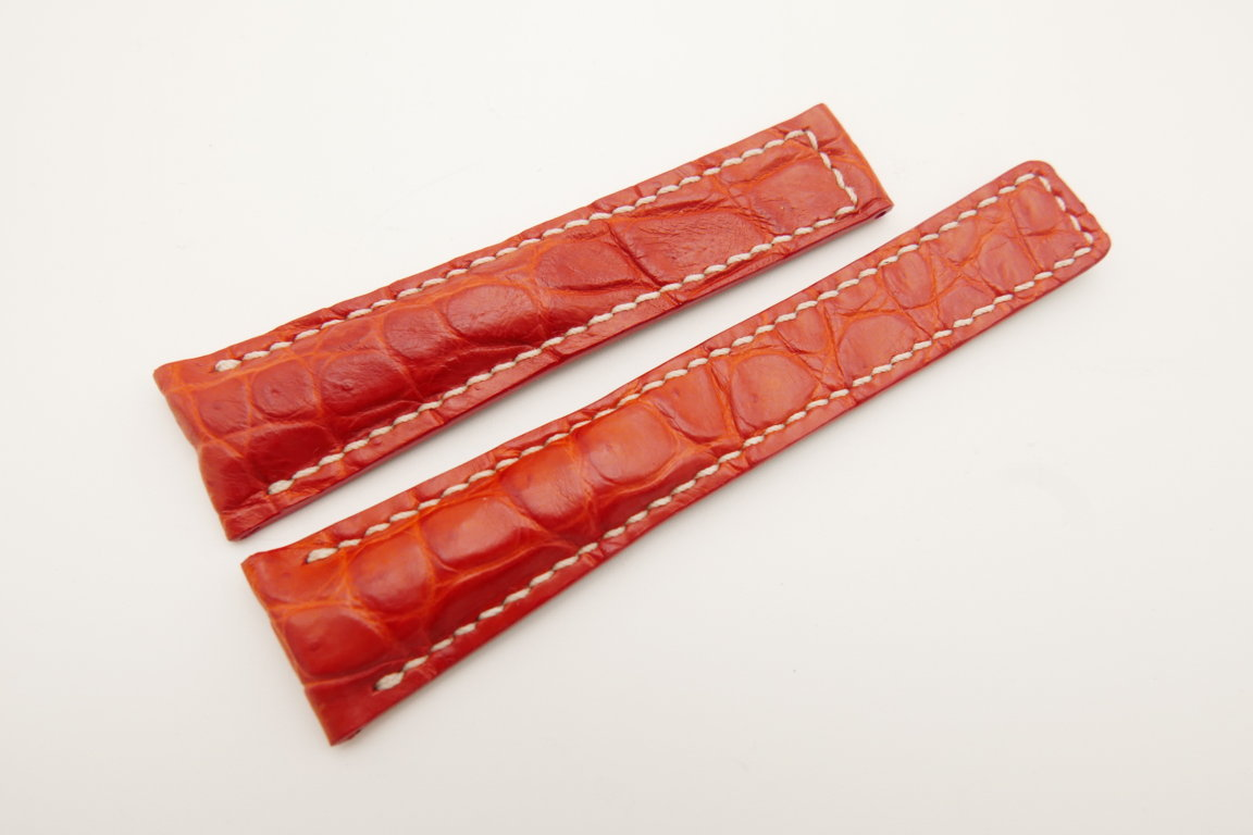 20mm/16mm Red Genuine CROCODILE Skin Leather Deployment Strap For Tag Heuer #WT4747