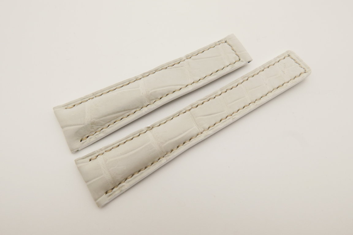 20mm/16mm White Genuine CROCODILE Skin Leather Deployment Strap For Tag Heuer #WT4748