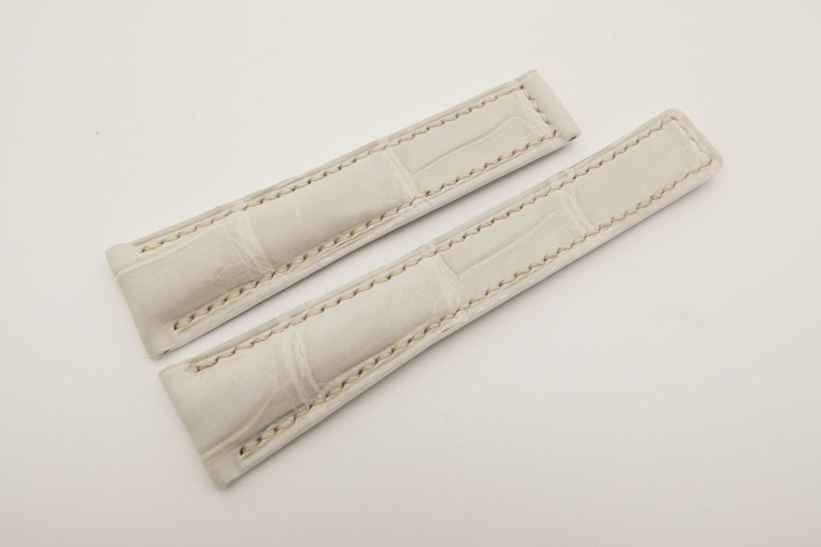 20mm/16mm White Genuine CROCODILE Skin Leather Deployment Strap For Tag Heuer #WT4749