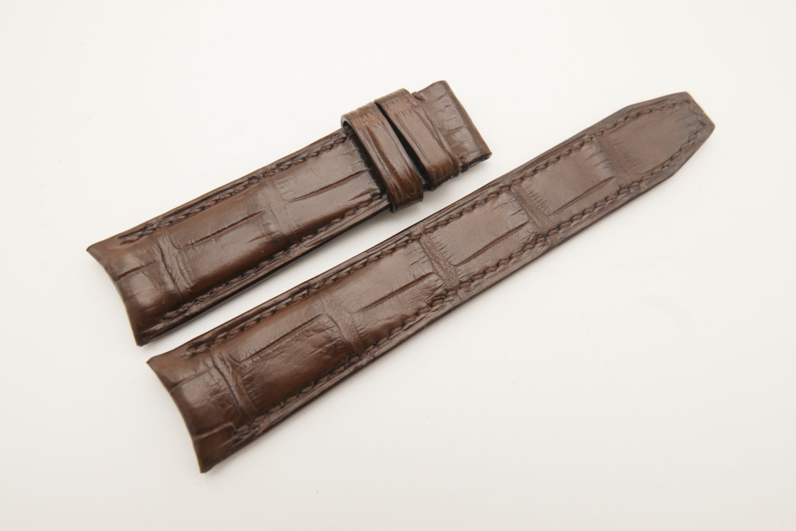 20mm/18mm Brown Genuine CROCODILE Skin Leather Curved End Deployment Strap For IWC #WT4761