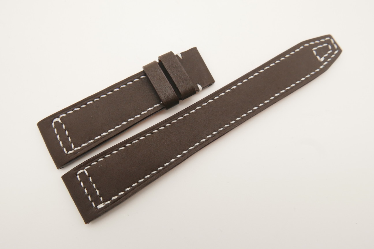 21mm/18mm Dark Brown Genuine SOMBRERO Calf Skin Leather Watch Strap for IWC Pilot #WT4812