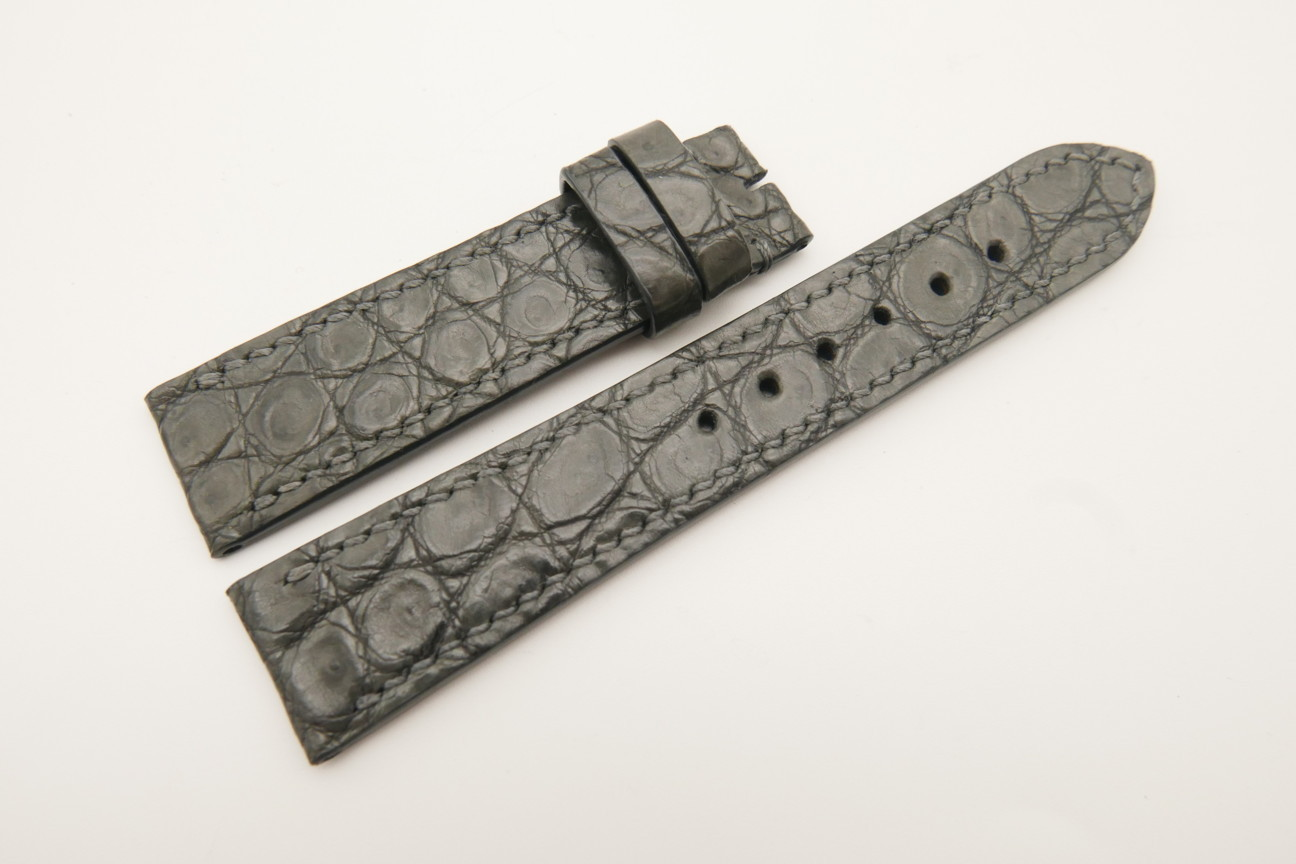 20mm/18mm Gray Genuine Crocodile Skin Leather Watch Strap #WT4777