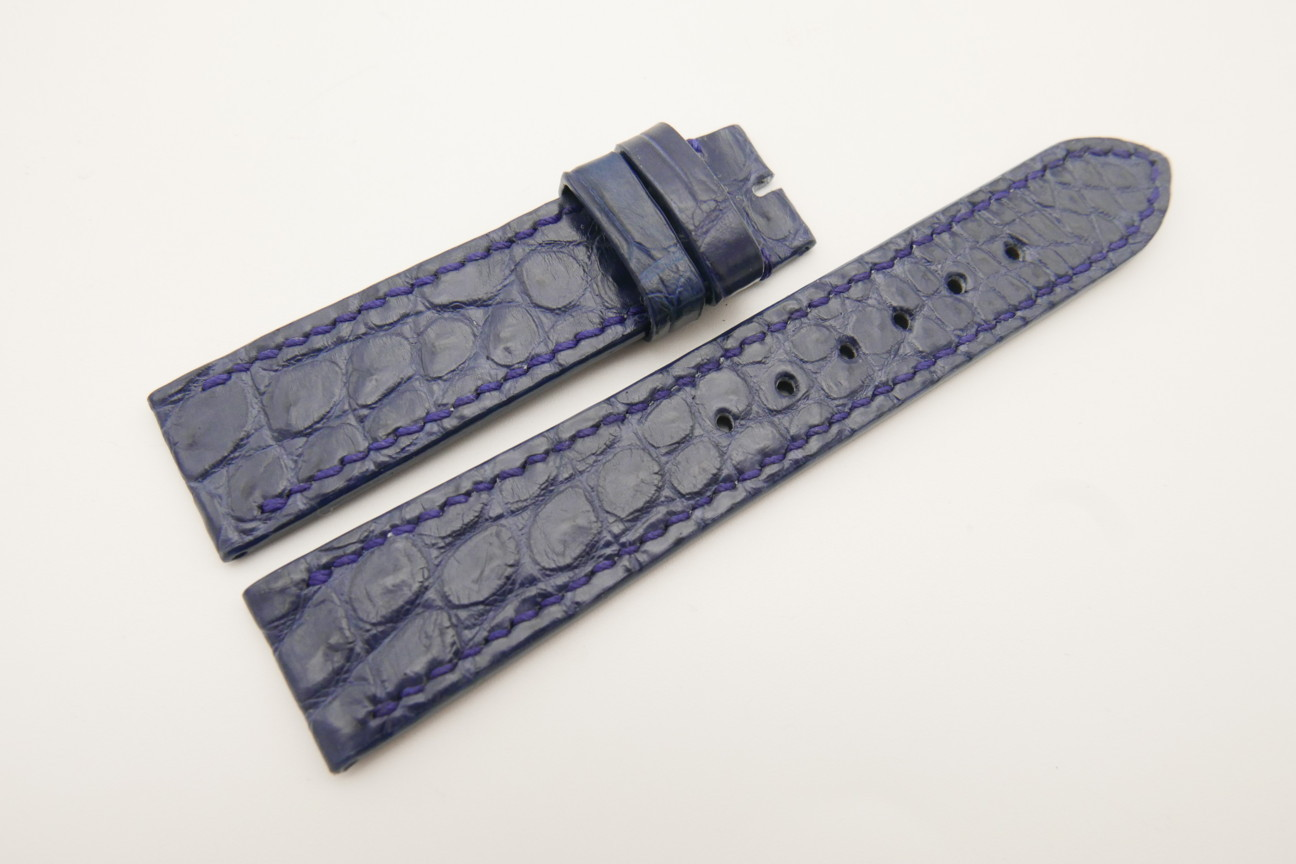 20mm/18mm Dark Navy Blue Genuine Crocodile Skin Leather Watch Strap #WT4781