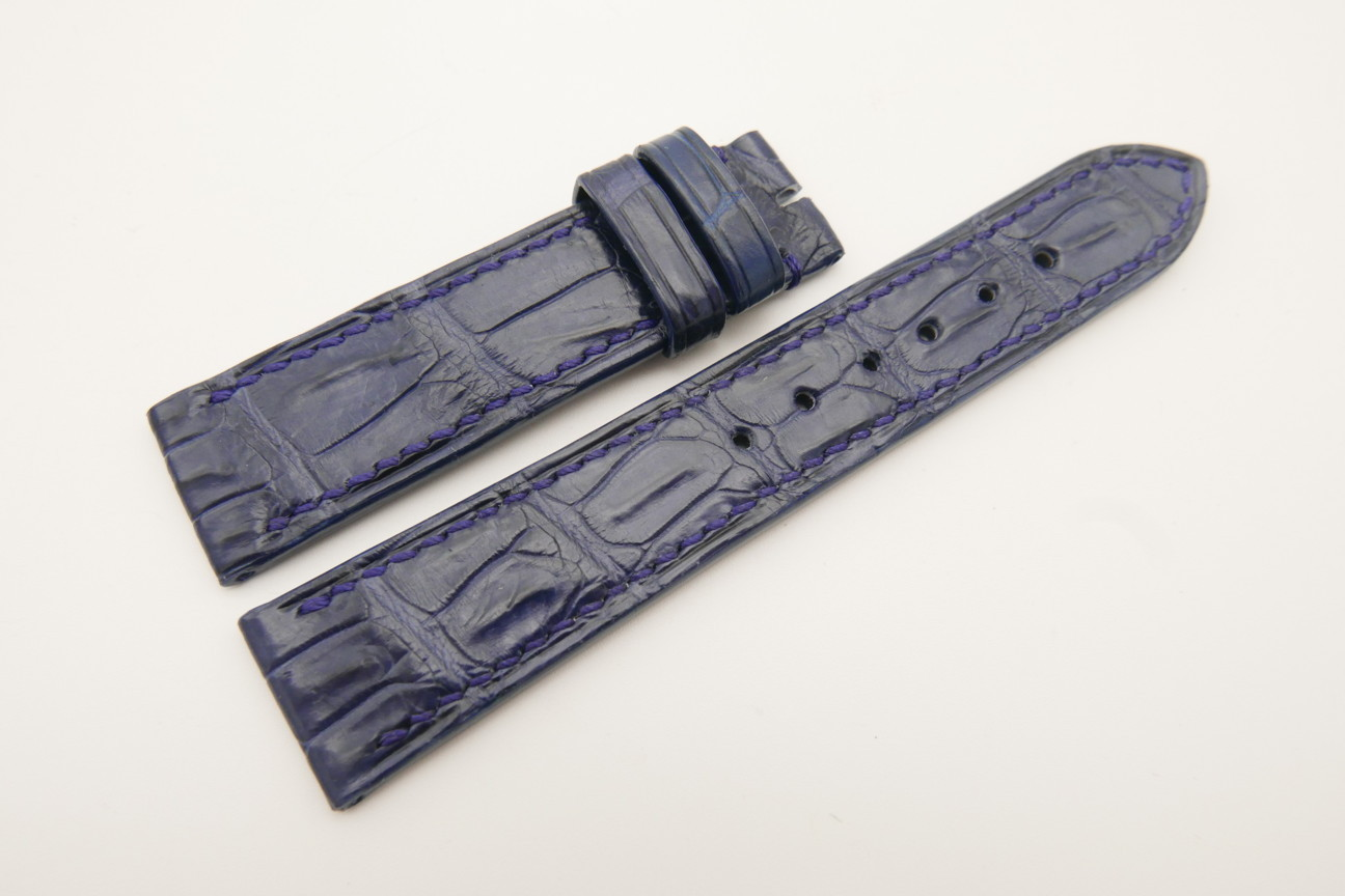 20mm/18mm Dark Navy Blue Genuine Crocodile Skin Leather Watch Strap #WT4782